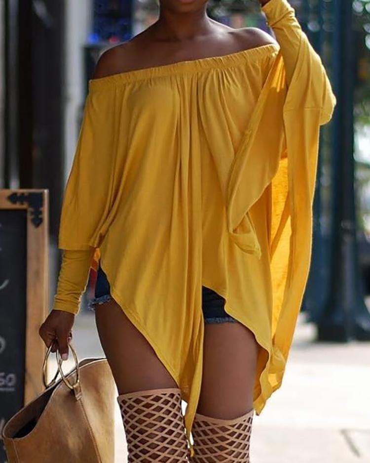 Asymmetric Stretchy Off Shoulder Oversized Top
