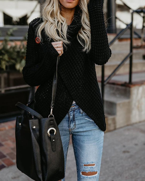Solid Long Sleeve Heap Neck Irregular Sweaters