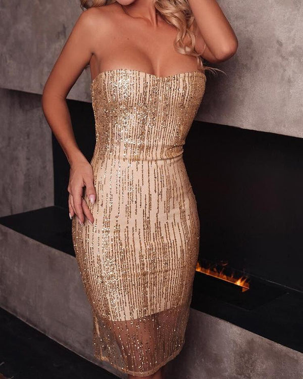 Mesh Splicing Bandeau Glitter Party Dress