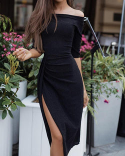Off Shoulder Ruched Thigh Split Party Dress
