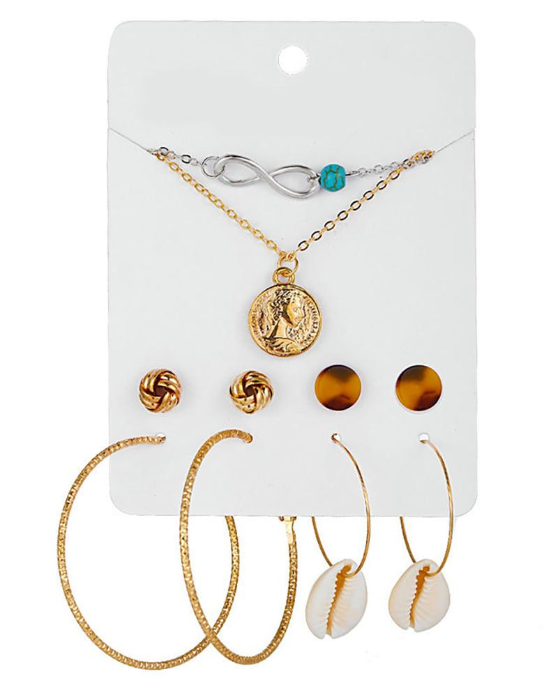 4 Pairs Beaded Hoop Tassel Ear Cuff Earring & Necklace & Hairpins Set