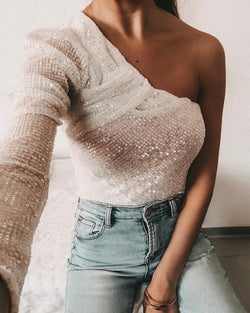 Glitter One Shoulder Ruched Sequins Blouse