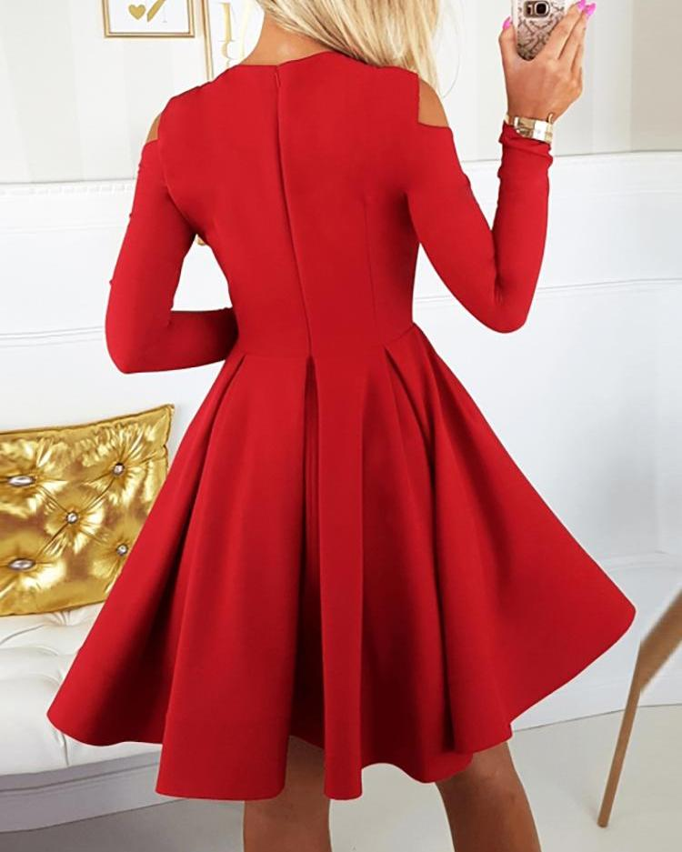 Long Sleeve Cutout Pleated Dress