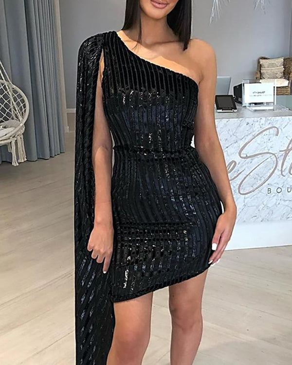 Glitter One Shoulder Cape Striped Bodycon Dress