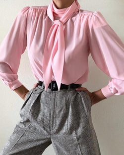 Mock Neck Puff Sleeve Bowknot Ruched Blouse