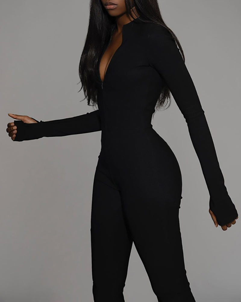 High Waist Zipper Design Jumpsuit