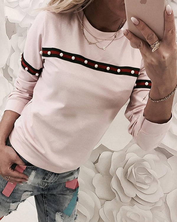 Colorful Striped Beaded Detail Casual Sweatshirt