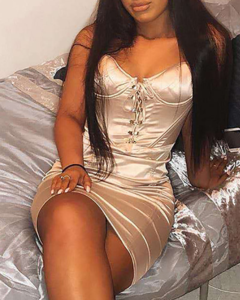 Satin Spaghetti Strap Lace-Up Dress
