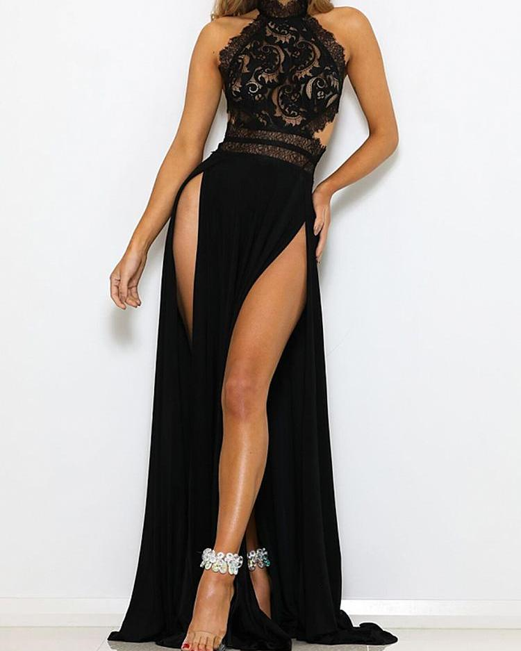 Guipure Lace Halter Open Back Maxi Dress