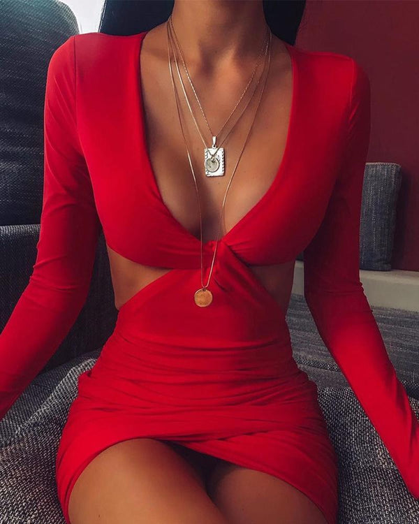 Front Twist Bodycon Plunge Dress