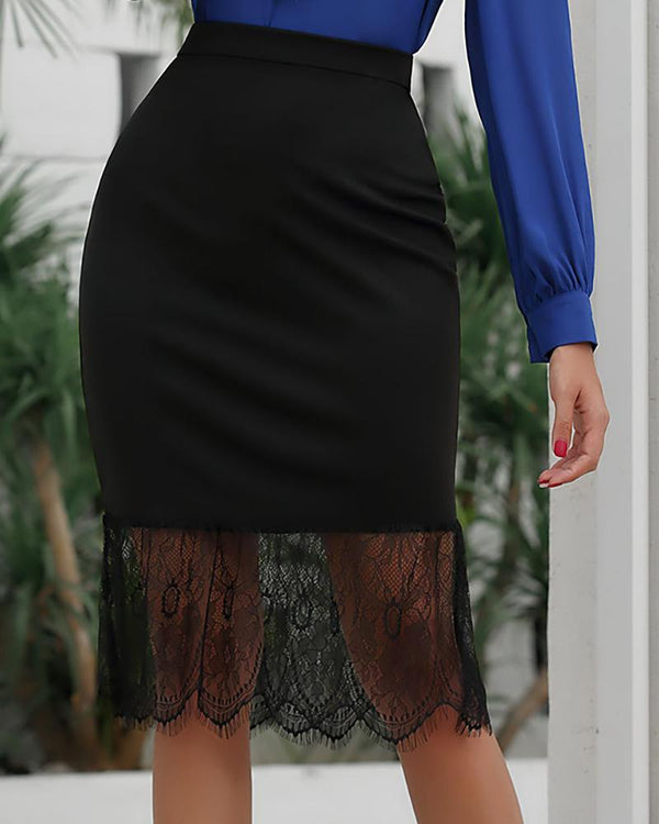 Solid Lace Patchwork Fishtail Skirt