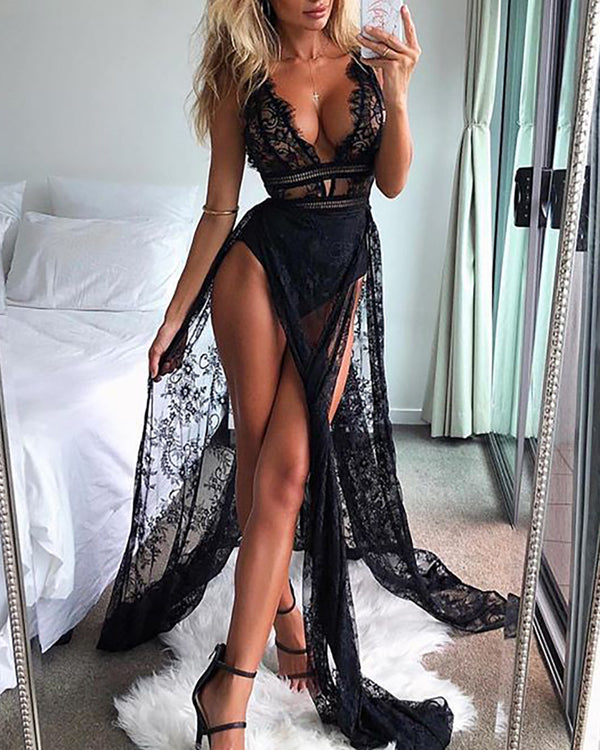 See Through Eyelash Lace High Slit Maxi Dress
