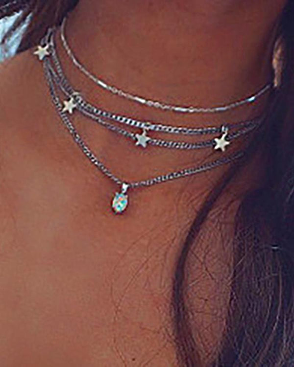 Fashion Tiered Stars Pendant Necklace