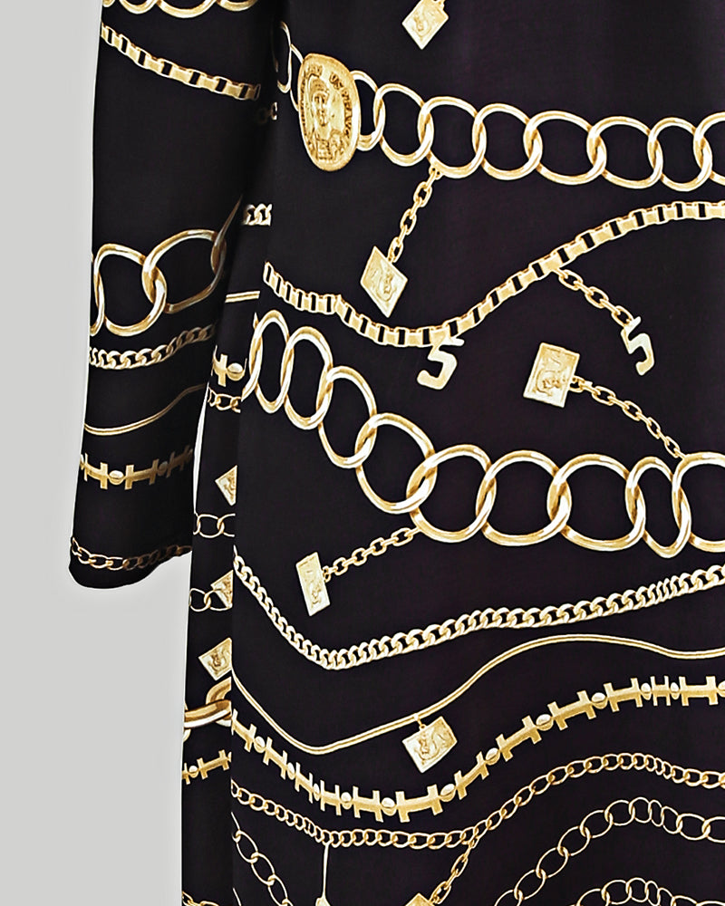 Chain Print Spaghetti Strap Midi Dress With Cardigan