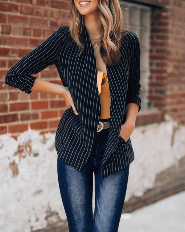 Pocket Padded Shoulder Pinstripes Open Front Blazer