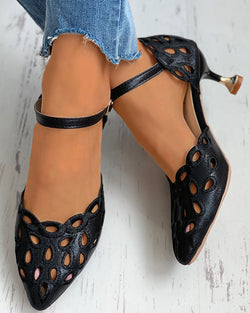 Hollow Out Pointed Toe Pyramid Heel