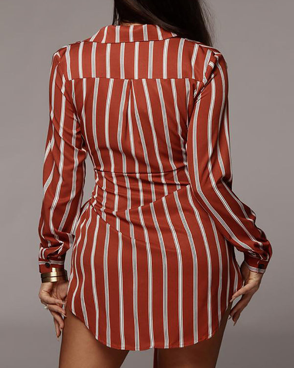 Striped Tied Waist Shirt Dress