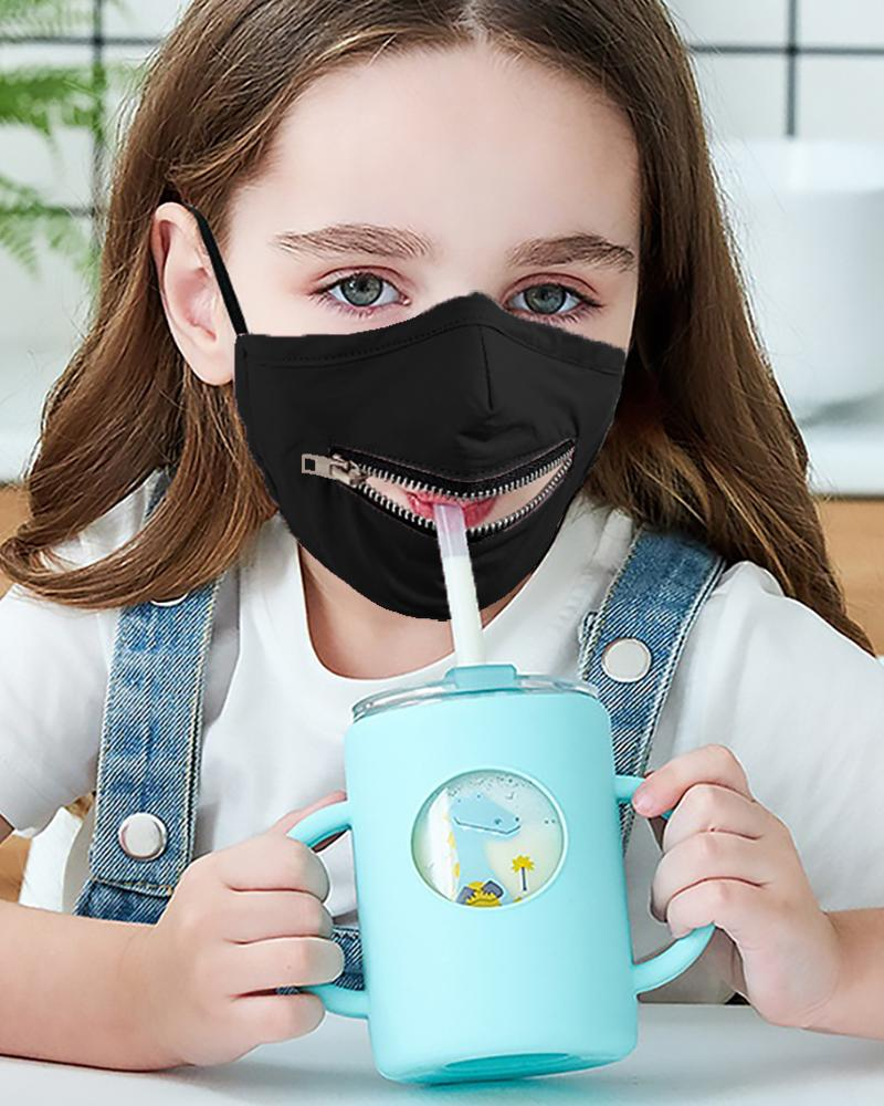Zipper Design Solid Breathable Mouth Mask For Kids