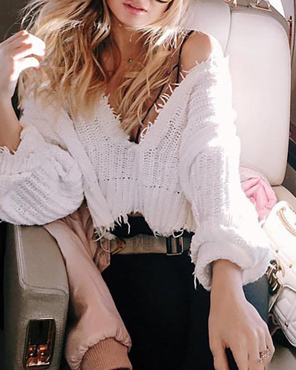Solid Long Sleeve Tassel Detail Casual Sweater