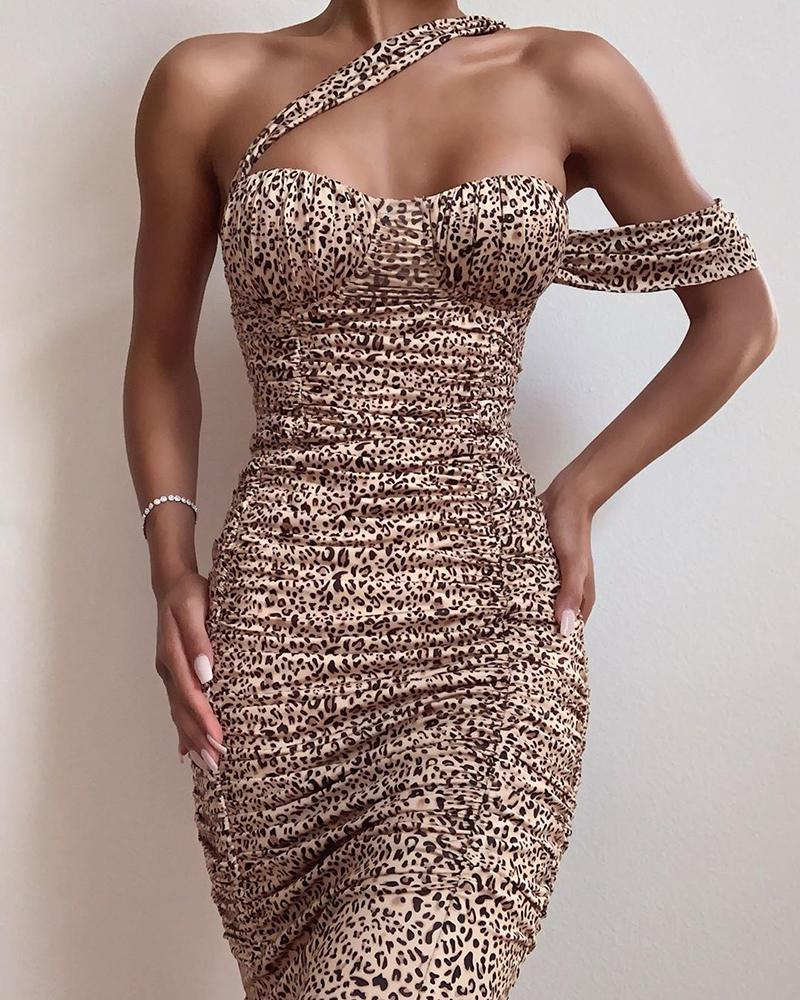 Leopard Sleeveless Bodycon Ruched Dress