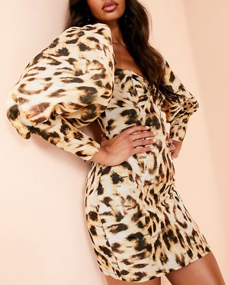 Leopard Lantern Sleeve Bodycon Dress