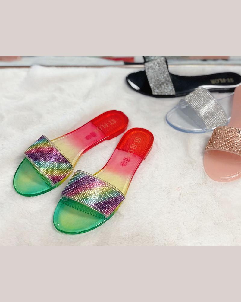 Jelly Sequins Flat Sandals