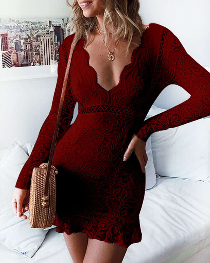 Lace Hollow Out Backless Bodycon Dress