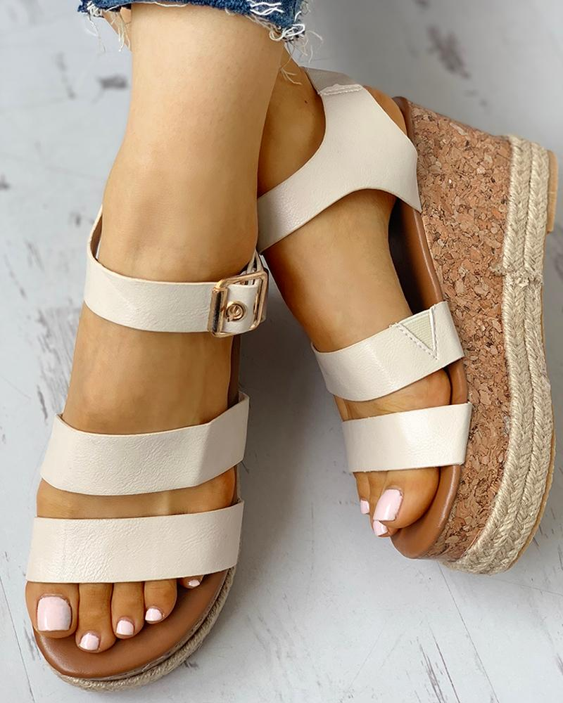 Eyelet Buckled Espadrille Wedge Sandals