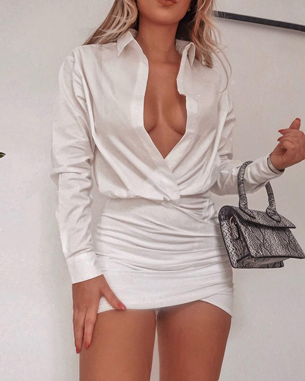 Deep V Neck Solid White Mini Dress
