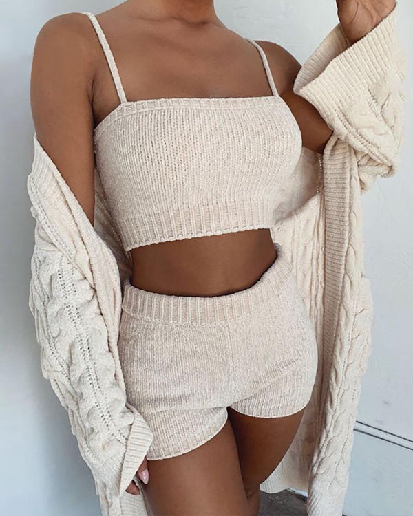 Spaghetti Strap Knitting Tank & Shorts Sets