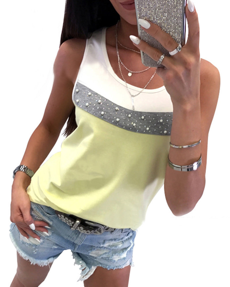 O Neck Color Block Beaded Vest