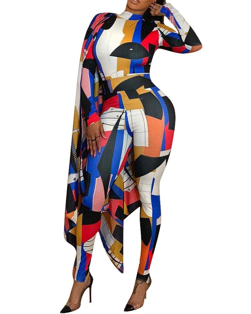 Abstract Print Skinny Cape Jumpsuit
