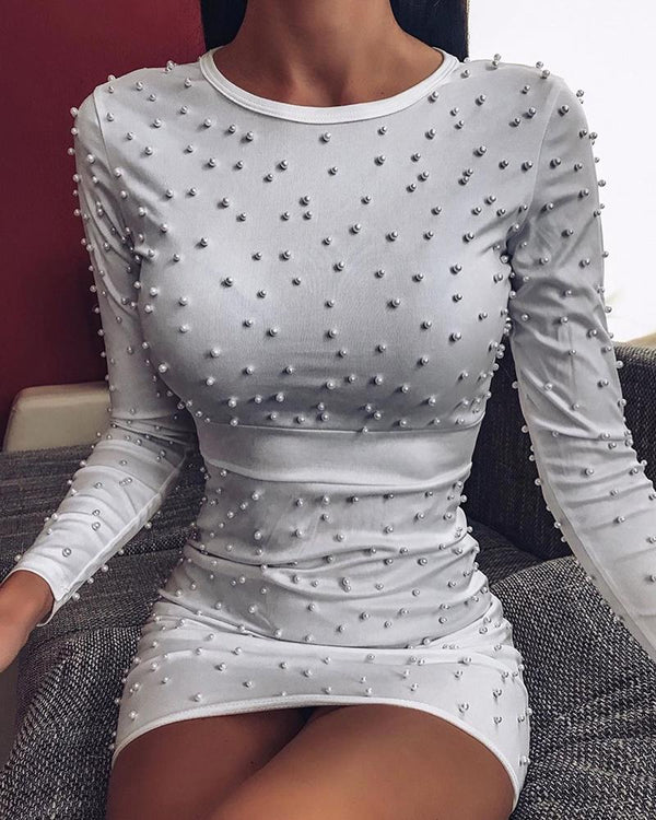 Beaded Embellished Bodycon Mini Dress