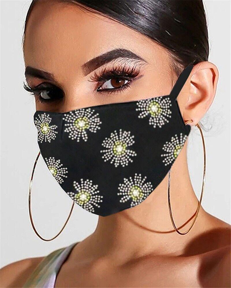 Floral Pattern Bling Rhinestone Face Mask