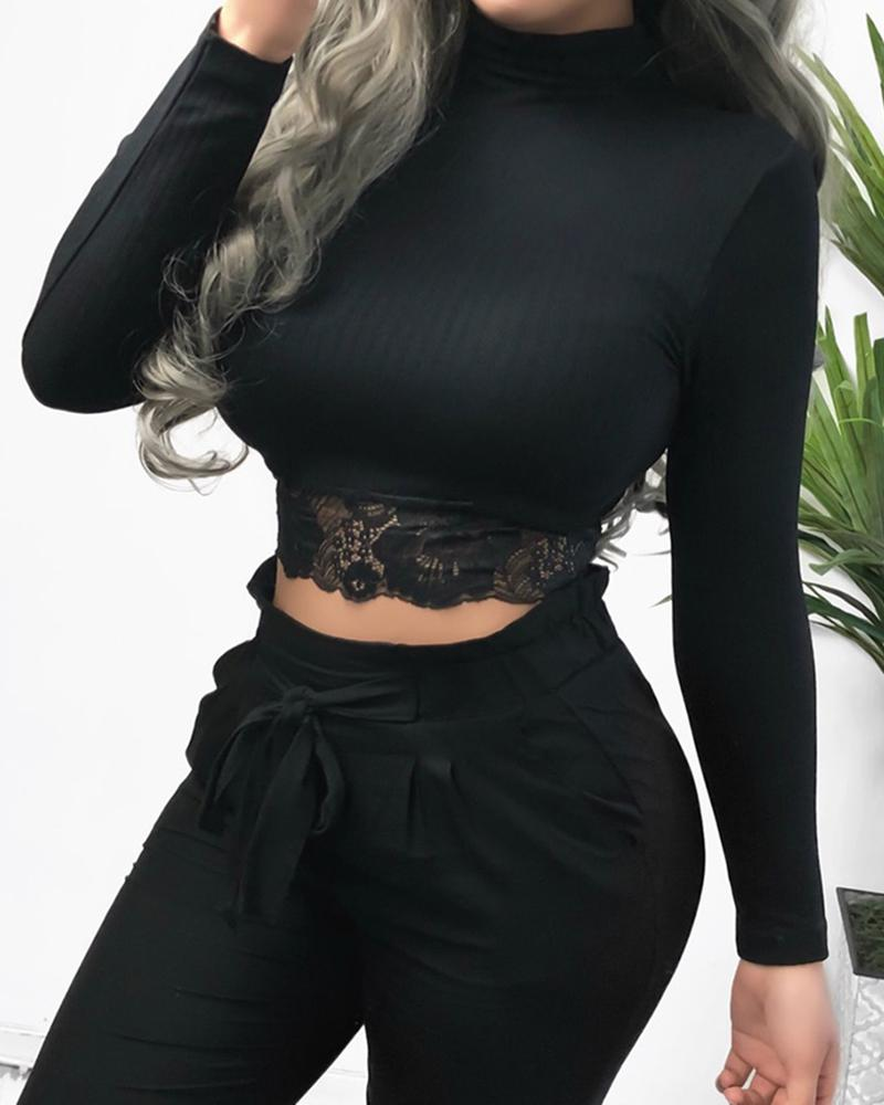 Solid Lace Detail Cropped Long Sleeve Top