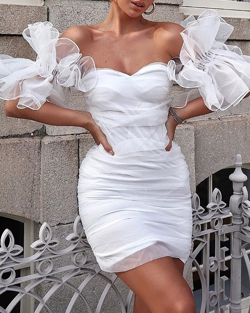 Off Shoulder Ruffles Mesh Insert Bodycon Dress