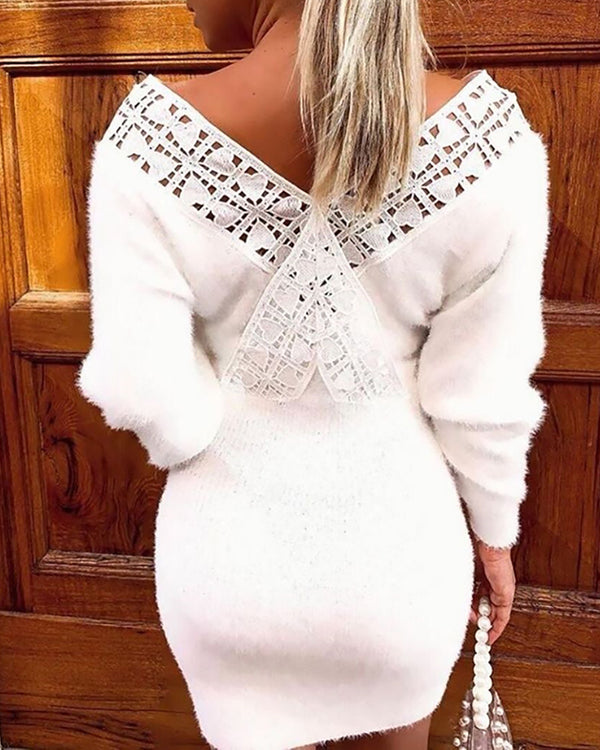 V-Neck Lace Insert Long Sleeve Knitting Bodycon Dress