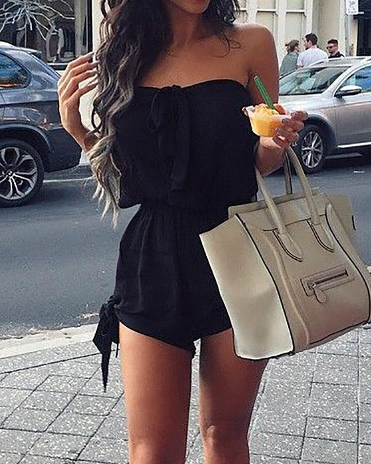 Hot Strapless Knotted Stretchy Waist Casual Romper