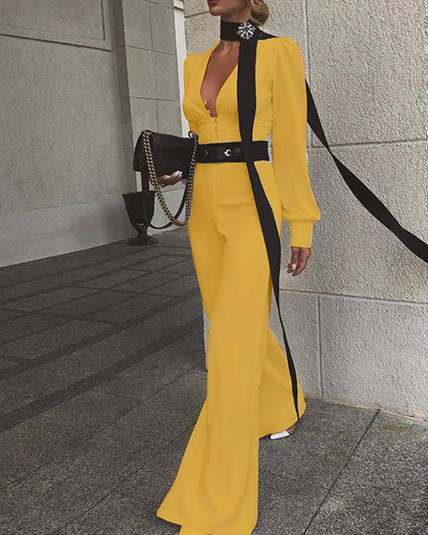 Solid V Neck Flare Jumpsuit