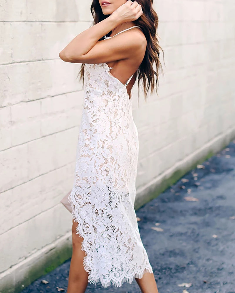 Crochet Lace Spaghetti Strap Irregular Dress