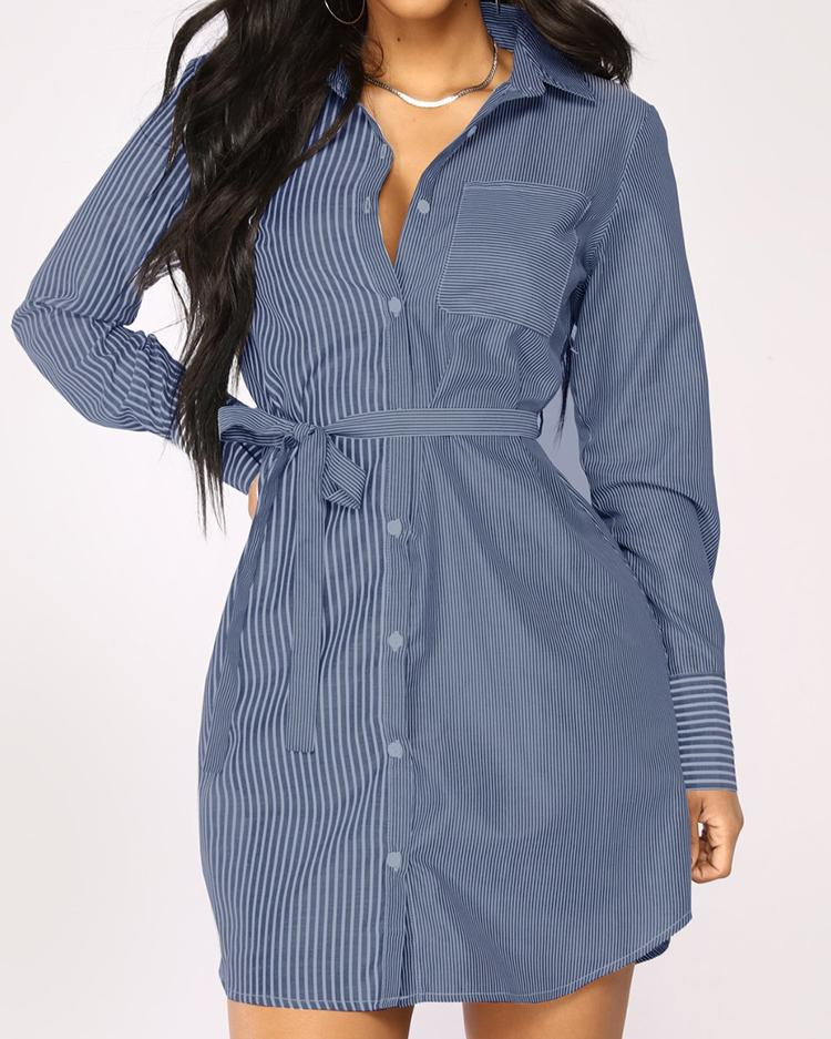 Contrast Striped Button Tie Waist Shirt Dress