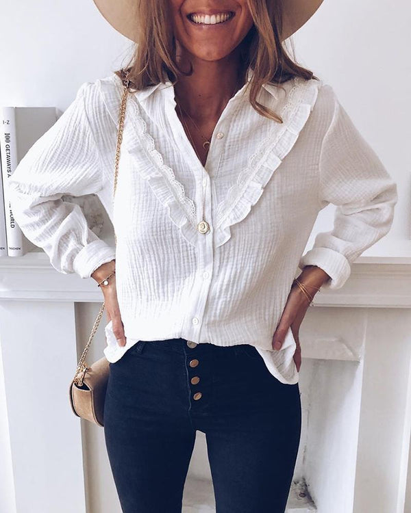 Turn-down Collar Frill Inset Buttoned Shirt