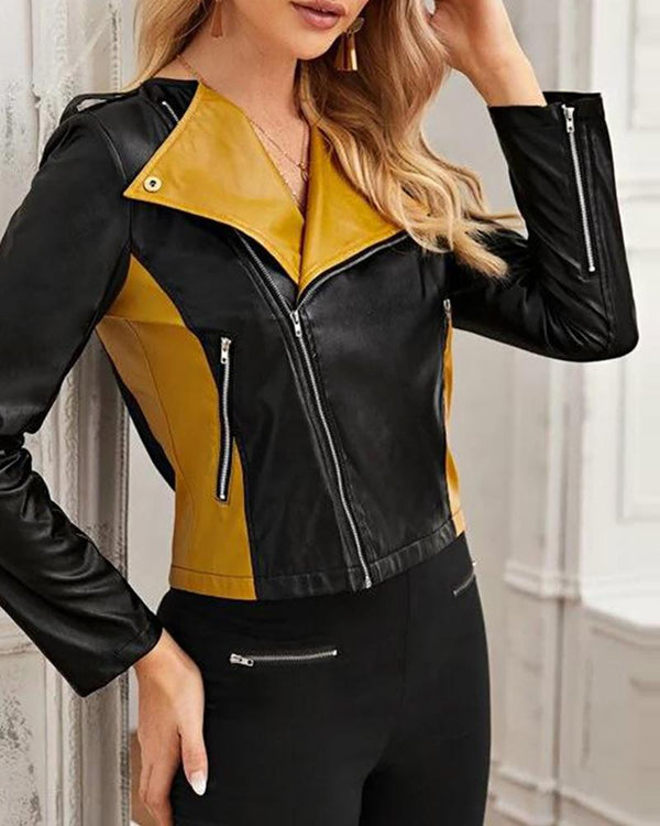 Faux Leather Zipper Design Colorblock Coat