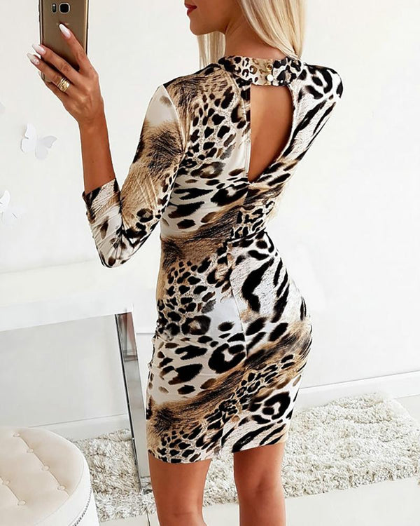 Cut Out Leopard Print Bodycon Dress