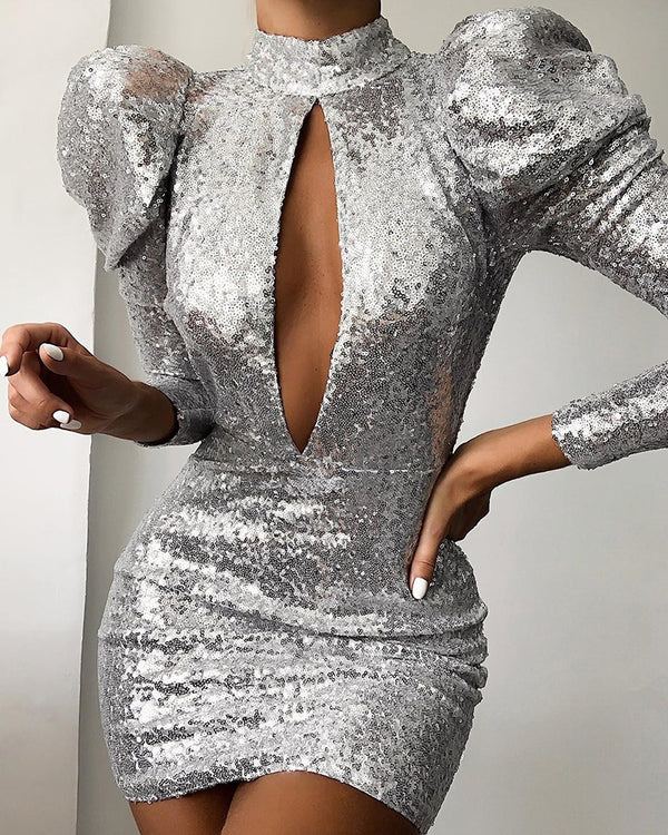 Glitter Mock Neck Keyhole Puff Sleeve Sequins Dress