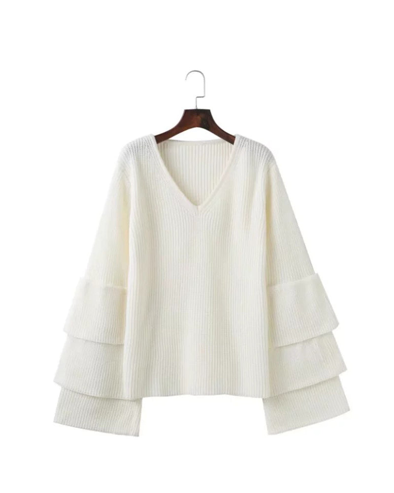 Ruffles Bell Sleeve Solid Casual Top