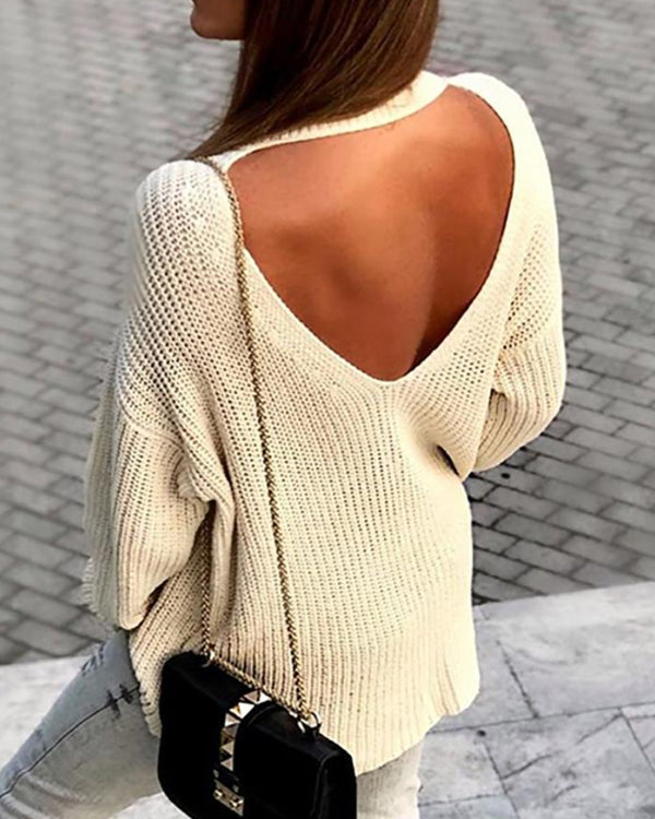 Solid Cut Out Backless Casual Sweater