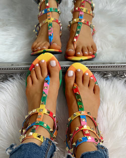 Rivets Multi Strap Toe Post Flat Sandals