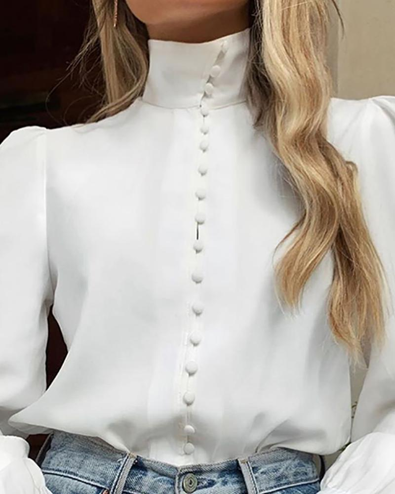Solid Long Sleeve Single Breasted Blouse
