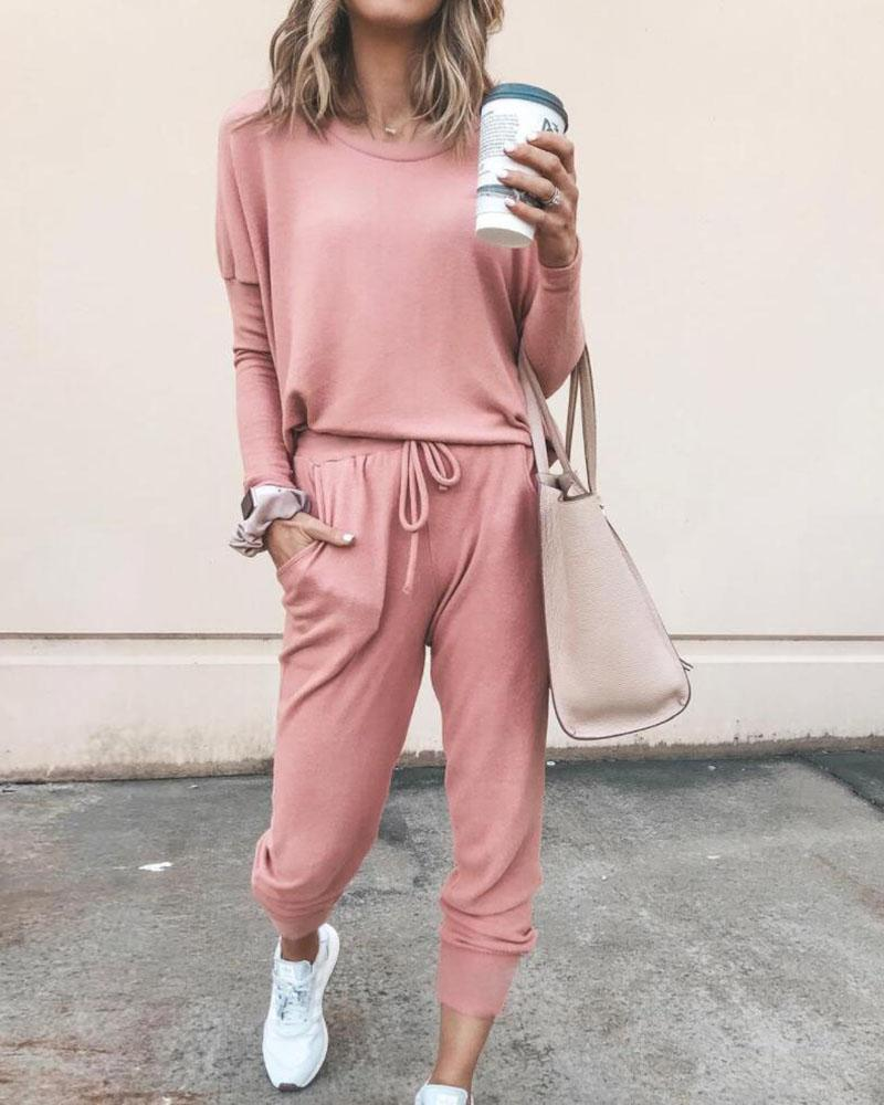 Solid Long Sleeve Top & Tied Casual Pants